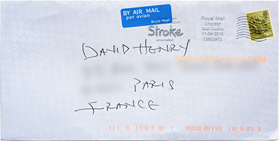 "The envelope is stamped ""Royal Mail Croyden Mail Centre 11-04-2016, 135039772""."