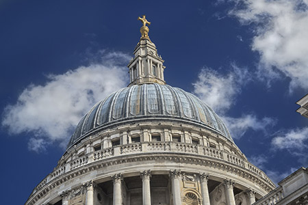 The north side of Saint Paul's Cathedral's dome, seen from Paternoster Square.