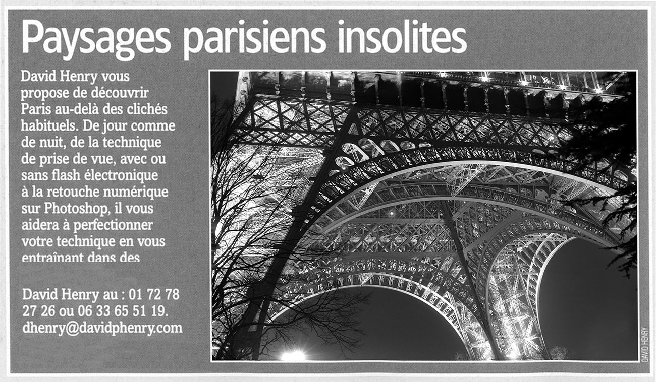 An announcement for photography workshops in Paris, printed in the magazine Réponses Photo.