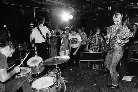Aimee Mann, Doug Vargas and Dave Bass Brown of the The Young Snakes on stage at the Rat in Kenmore Square, 1982.