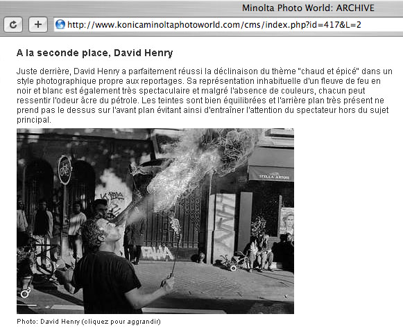 A screen capture of a web page showing that a photographer has won a photo contest.